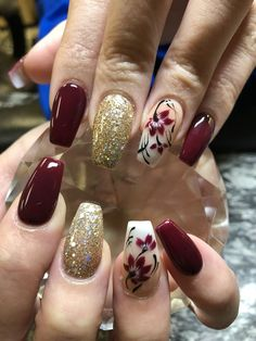 Unordinary Floral Nail Designs Ideas For Spring And Summer - The option of designs for nails is varied these days, the popular ones include holidays and sports teams. Many are enthusiastic to demonstrate their l. Sexy Nails, Trendy Nails, Cute Nails, Nail Designs Spring, Nail Polish Designs, Nail Art Designs, Maroon Nails, Glitter Nail Art, Flower Nails