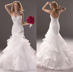 Vestidos De Noiva Sereia 2014 New Fashionable Sweetheart Ruched Ruffles Organza Mermaid Wedding Dresses