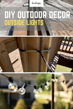 Installing outdoor patio lights creates a nice summer vibe to your outdoor patio. Patio Lighting sets the mood for you to enjoy your outdoor patio well after the sun goes down. Backyard Lighting, Outdoor Lighting, Lighting Ideas, Outside Lights On House, Landscape Lighting Design, Outdoor Dining, Outdoor Decor, Rustic Farmhouse Decor, Outdoor Projects