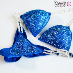 This royal blue crystal bikini features amazing crystal work comprising range of sapphire blue crystal sizes with random placement on royal blue fabric. Bikini Competition Suits, Figure Competition Suits, Fitness Competition, Workout Pictures, Fitness Pictures, Wbff Bikini, Bikini Fitness Models, Bikini Prep, Bikinis For Sale