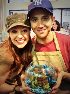 Laura Osnes and Santino Fontana with Cinderella fan favorite Herman the Fish.    Check out BroadwayAudience.com's interview with Laura to hear all about her time filming The Princess Diary vlog (where Herman made his first appearance.)