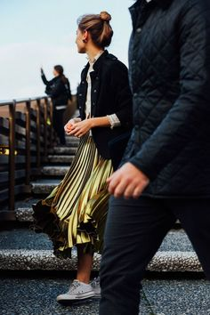 To brighten your winter wardrobe, try a metallic pleated skirt. Let DailyDressMe help you find the perfect outfit for whatever the weather!