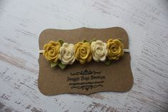 Light Mustard Yellow and Cream  Rose Garland Headband  - Newborn Baby to Adult - Wool Felt Flower Headband