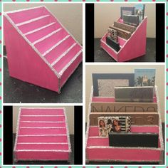 Cartonnage-DIY:$4 Makeup palette stand/organizer holder/storage. Made out of foam board ($1) glue ($1) paint ($1) and glitter ($1) from dollar tree :)