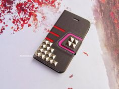 iPhone 4 case,Modern,Geometric,Kickstand,Card holder Studded iphone Case,Studs Leather Wallet Phone Case iPhone 4 case Cover