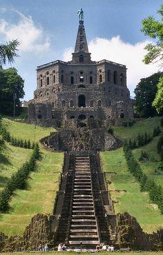 Wilhelmshöhe Castle (formerly Karlsberg) was built in 1696. It occupies an entire hillside in the city of Kassel, Germany.