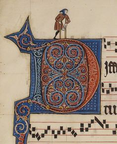 Crutches, circa 1260. (The wonderful things you find in medieval manuscripts!) Detail from an illuminated initial D in a Franco-Flemish antiphonal on view in Gothic Grandeur.