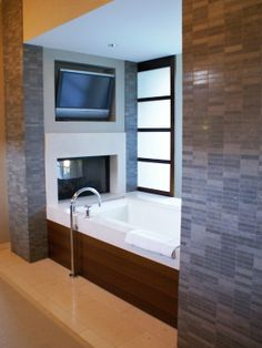 Bathroom Tile Fireplace Surround Design, Pictures, Remodel, Decor and Ideas - page 6