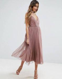 ASOS Pinny Extreme Tulle Mesh Midi Dress - Dusky lilac