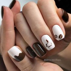 : 40 Coffee Nail Designs That Are So Cute! Nail Art Designs, Latest Nail Designs, Pedicure Designs, Nails Design, Brown Nail Art, Brown Nails, Pedicure Nail Art, Manicure And Pedicure, Nail Time