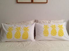 Yellow Pineapple Pillowcase Hand Screen Printed by jeanandivy