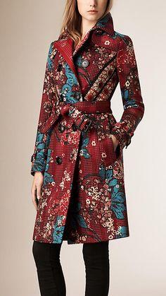 Rouge carmin Trench-coat en coton avec imprimé floral et surpiqûres - Image 1