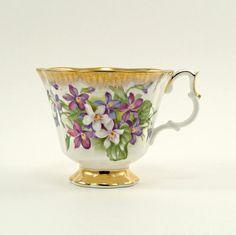 vintage teacup with violets