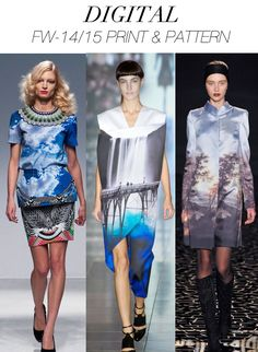 Here are a couple of their  print and pattern key trends for Women's A/W 2014-15, Digital and 70's Geos.Trend Council