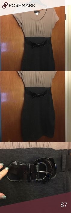 Juniors Belted Dress Size Large Cute Juniors Dress. Size Large. Light brown/tan top of dress dark gray bottom of the dress. Featured by a black belt. Even has pockets. Hypnotik Dresses
