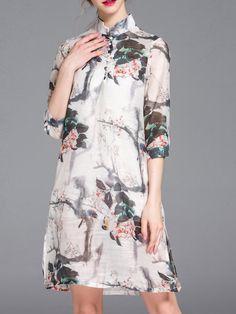 Shop Midi Dresses - Multicolor Graphic Half Sleeve Midi Dress online. Discover unique designers fashion at StyleWe.com.