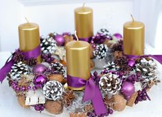 luxusní adventní věnec Advent Candles, Pillar Candles, Christmas Decorations, Wreaths, Crafts, Handmade, Xmas, Christmas Themes, Ornaments