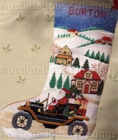 RARE SANTA'S CHRISTMAS ANTIQUE MOTOR CAR CROSS STITCH STOCKING KIT