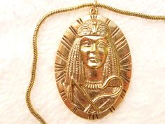 Egyptian Revival Pharaoh pendant necklace in gold tone S33 #Pendant