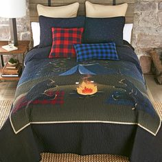 A Black Forest Décor Exclusive - These adorable bears toasting marshmallows under a starry night sky add charming outdoor style to your bedroom. 100% cotton with cotton-poly blend fill. Sets include quilt and two shams (twin has one; king has king shams). Machine wash. Allow 1 to 2 weeks. Quilt Bedding, Bedding Sets, Quilt Sets Queen, Black Forest Decor, Starry Night Sky, Rustic Bedding, Blanket Cover, Bedding Collections, Pillow Covers