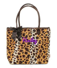 """Personalized Leopard Print Brown Black 16"""" Quilted Tote Bag - Gifts Happen Here - 1"""