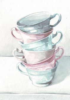 Original watercolor painting Teacups in pink, teal and pastels art Little tower of soft muted teacup colors. Size: 148 x 210mm (5.8 x 8.3)