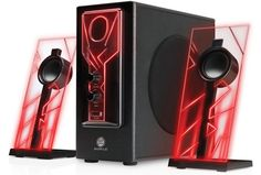 Glowing Red LED Computer Speaker Sound System