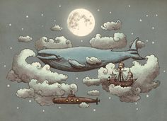 whale paintings | art, illustration, sky, whale - inspiring picture on Favim.com