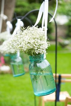mason jars and babys breath...simple, sweet