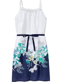 Girls Printed Tie-Belt Sundresses i want this for easter