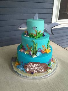 Nino wanted a shark cake for his fourth birthday.