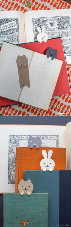 DIY Papercut Animal Bookmarks - Lia Griffith #DIY #Papercut #Bookmarks www.LiaGriffith.com:<br> Cute DIY bookmarks in adorable animal shapes perfect for the book lovers in your life. From handcrafted lifestyle expert Lia Griffith. Diy Paper, Paper Art, Paper Crafts, Paper Book, Cute Crafts, Diy And Crafts, Diy For Kids, Crafts For Kids, Diy Bookmarks