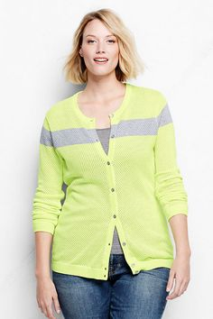 5a813f0f283ed Women s Plus Size Supima Mesh Colorblock Cardigan Sweater http   www. landsend.
