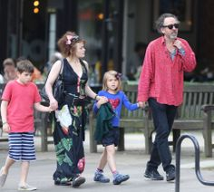 Helena Bonham Carter with her kids and Tim Burton
