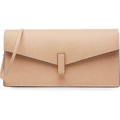 Valextra Leather Shoulder Bag (€1.055) ❤ liked on Polyvore featuring bags, handbags, shoulder bags, rose, beige purse, shoulder strap bag, beige leather handbag, real leather handbags and shoulder strap purses