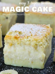If you're looking for a cake recipe with just a few ingredients, try this Easy Banana Magic Cake! Custard cake with mashed banana comes together in no time! Banana Recipes, Easy Cake Recipes, Easy Desserts, Baking Desserts, Cake Baking, Health Desserts, Sweet Recipes, Ultimate Vanilla Cake Recipe, Vanilla Magic Custard Cake