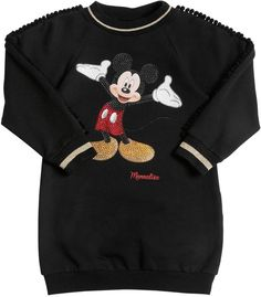 MonnaLisa Mickey Mouse Cotton Sweatshirt Dress Vestito Felpa 28409a0de75