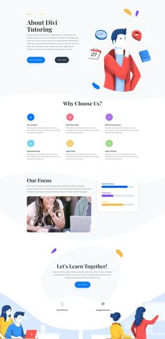 [Free Layout] Get the free layout of this Tutoring School Website for Divi Wordpress Theme. Modern landing page web desi Web Design Trends, Site Web Design, Clean Web Design, Modern Web Design, Website Design Layout, Wordpress Website Design, Web Layout, Email Design, Layout Design