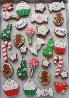 Red and Green Cute Candy Cutout cookies with Royal frosting ~ inspired by stickers:
