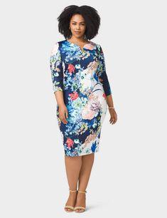 db59c40e014 dressbarn Plus Size Scuba Floral Midi Dress Floral Midi Dress