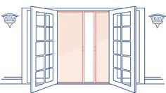 Retractable screens for double doors