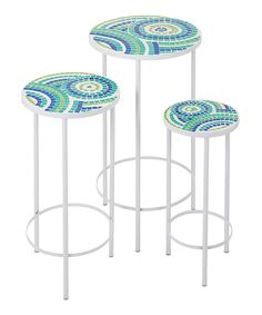 Look what I found on #zulily! Laguna Mosaic Table - Set of Three by IMAX #zulilyfinds