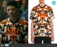 Hakeem's pixelated print t-shirt on Empire.  Outfit Details: http://wornontv.net/54191/ #Empire