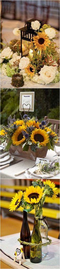 Sunflower themed wedding centerpieces