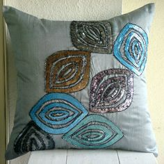 Decorative Throw Pillow Covers Accent Pillow Couch Sofa Toss 16x16 Inches Blue Silk Pillow Cover Sequins Embroidered Home Decor Peacock Fun