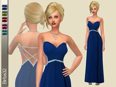 A colorful dress with a big heart cut on top and precious stones on strings. Found in TSR Category 'Sims 4 Female Formal'