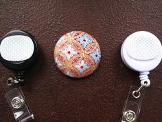 Blue White and Gold Flower Fabric Covered by tallulahssatchels (Accessories, Lanyard, badge reel, retractable, badge strap, clip on, lanyard, fabric button, tag holder, id badge reel, name tag, id, velcro button, flower button, gold flower button)