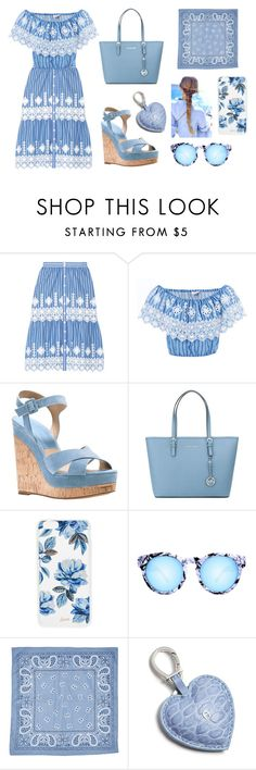 """Blue sunday"" by fashionfreak434 ❤ liked on Polyvore featuring Miguelina, Michael Kors, MICHAEL Michael Kors, Sonix, Quay, Swell and Etienne Aigner"