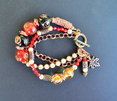 LAMPWORK Glass and Copper Bracelet, Multistrand, three strands, Handmade, Beadwork, black and red by LKArtChic on Etsy