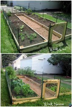DIY U Shaped Raised Garden with Fence - DIY Raised Garden Bed Ideas Instructions  #Gardening, #Woodworking